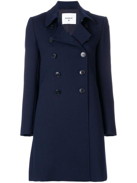 DONDUP coat women midi spandex blue wool