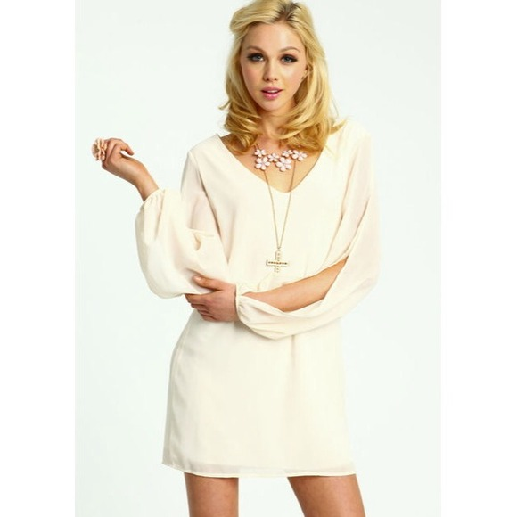 14% off  Dresses & Skirts - Cream Split Sleeve Chiffon Shift Dress from !   ruth's closet on Poshmark