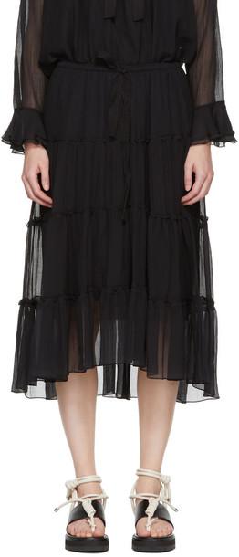 skirt drawstring black silk