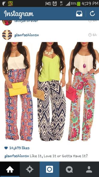 pants baggy pants all 3 skirts tribal pattern
