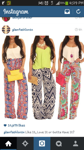 pants baggy pants all 3 skirts, floral patterns tribal pattern