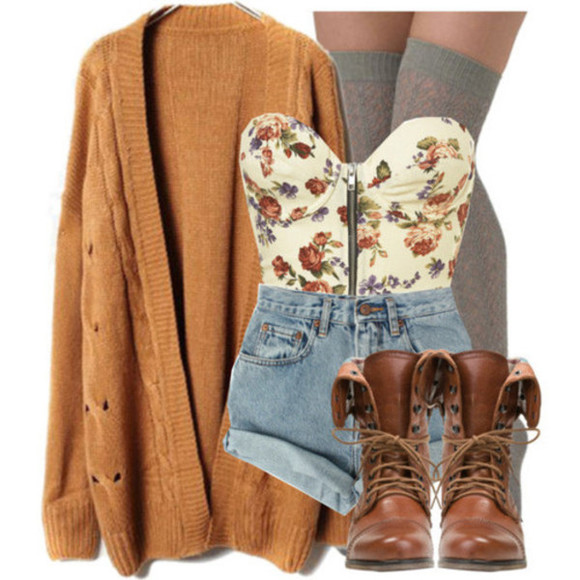 tank top corset top floral crop tops oversized cardigan high waisted short combat boots knee high socks brown combat boots fall outfits cute outfits sweater shoes shorts cardigans fall sweater socks