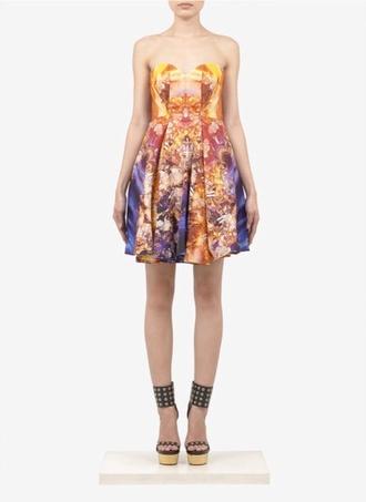 dress blue dress sunset print alexander mcqueen mineral yellow orange dress
