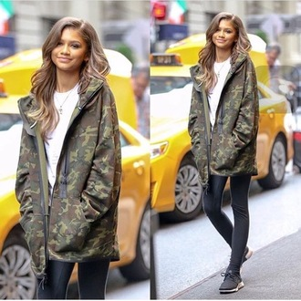 sweater hoodie jacket camouflage zendaya coat new york city