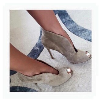 shoes open toes heels boots ankle boots suede heel boots