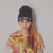 hat,black hat,beanie,bad hair day hat,cara delevingne,shirt
