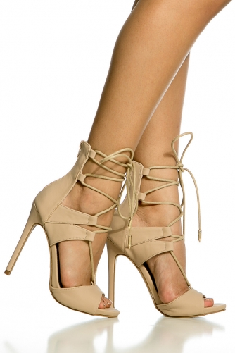 Faux Nubuck Lace Up Single Sole Heels @ Cicihot Heel Shoes online ...