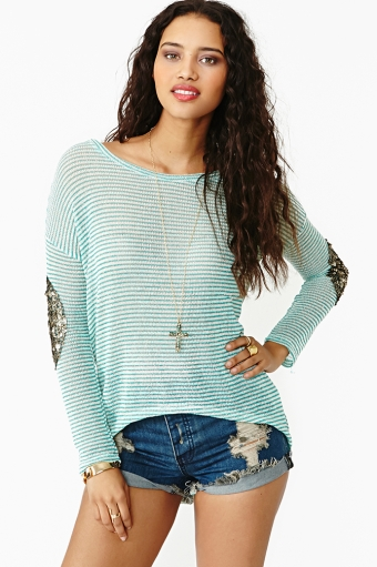 Striped patch knit in  clothes tops sweaters at nasty gal