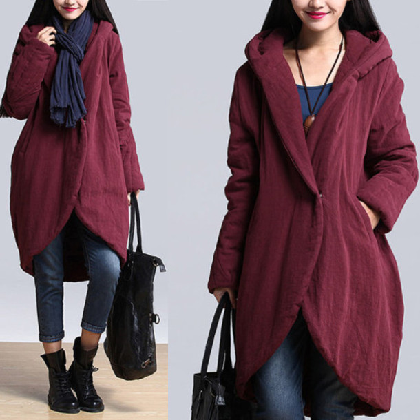 coat warm coat wine red dreses hooded jacket