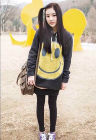 cute ulzzang oversized ulzzang smiley korean style korean fashion asian fashion cute sweater oversized sweater aegyo kawaii yellow bag korean ulzzang