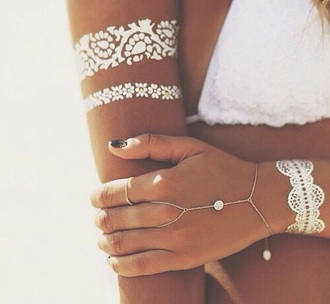 jewels silver jewelry white hand jewelry hand chain cute temporary tattoo boho jewelry jewelry