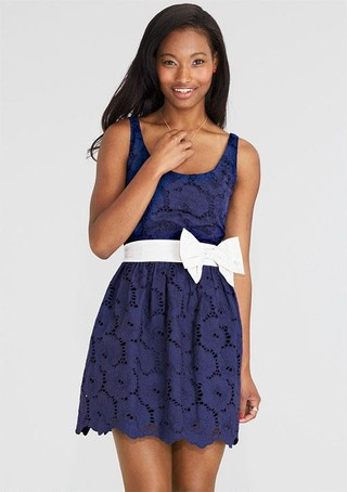 BOW BELTED EYELET DRESS OUTLET on The Hunt