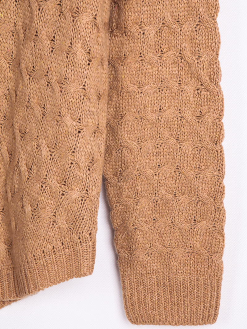 Coffee long sleeve cable knit sweater