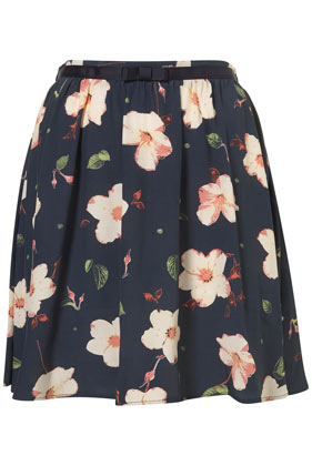 Navy pansy print flippy skirt