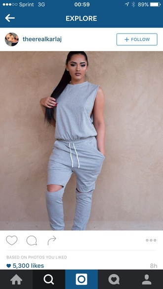 jumpsuit outfit outfit idea fall outfits winter outfits cute outfits one piece romper grey grey top cute sleeveless