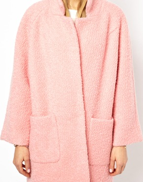 Pink | Ganni Poodle Coat in Pink at ASOS