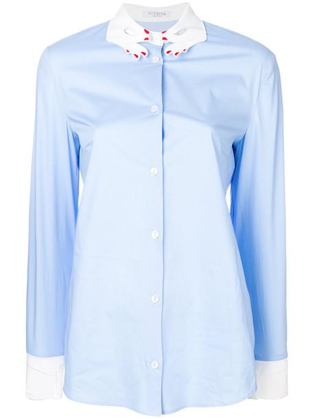 VIVETTA shirt collar shirt women spandex cotton blue top