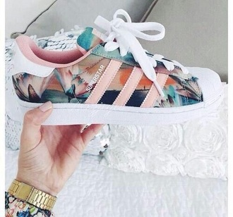shoes adidas adidas shoes sneakers pink adidas superstars beach pretty