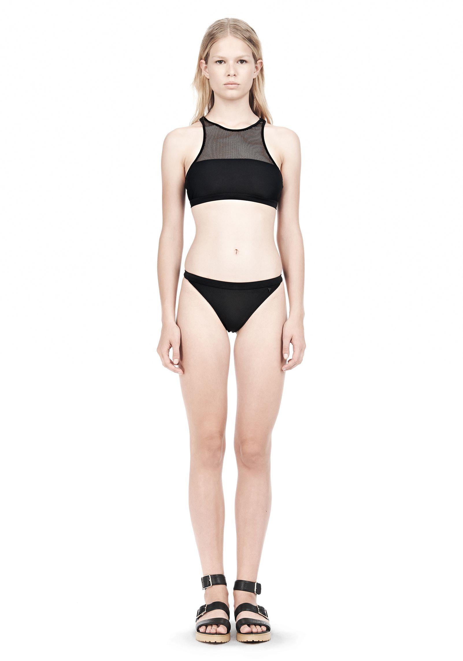 MESH COMBO CREWNECK RACERBACK SWIM TOP - Beachwear Women - Alexander Wang Online Store