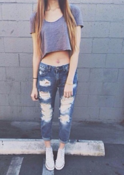 t-shirt jeans boyfriend jeans crop tops converse cute top ripped jeans blue casual outifit streetstyle shirt grey crop top boyfriend ripped worn dark rolled cuffed pants pants denim skinny ripped frayed holes cut out teenagers tumblr girl summer spring fall outfits fall outfits winter outfits length three quarter dress