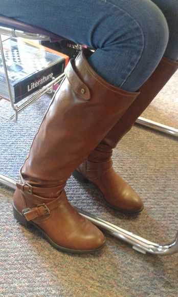 zip-up brown leather boots buckels boots jcpenny's