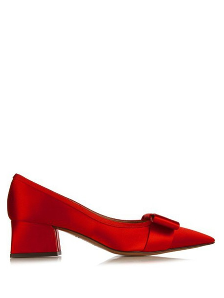 MARNI Bow satin pumps in red
