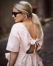 top,tumblr,pink top,open back,backless,hair,hairstyles,long hair,ponytail,blonde hair,sunglasses