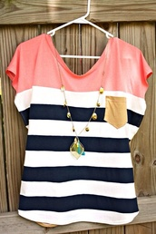 shirt,pink,necklace,blouse,summer colours,tomboy,the necklace,1 pocket,sleeve,t-shirt,summer,accessories,jewels,stripes,striped shirt,blue,white,pink dress,pocket t-shirt,top,navy,color block shirt,fashion,style,preppy,tank top,stripe top