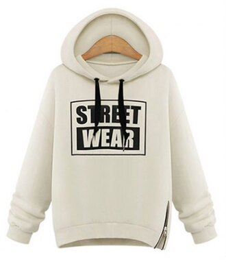 sweater white hoodie casual fashion style fall outfits winter outfits sporty streetwear long sleeves