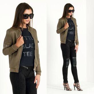 jacket maniere de voir bomber jacket khaki mesh 36683