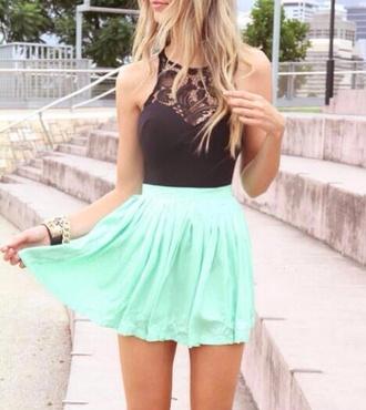 dress black mint cute lace
