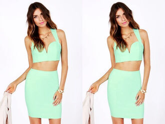 blouse crop top summer spring 2014 mint sexy skirt crop tops tank top pastel two-piece mini skirt coral coral skirt plunge v neck beautiful evening outfits outfit girly clubwear bag party