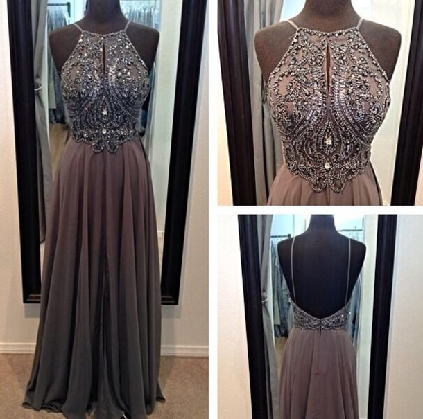 dress grey dress gray prom dress backless prom dress backless dress ...