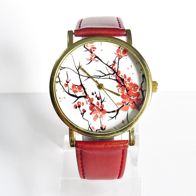 New! Cherry Blossoms Floral Watch, Vintage Style Leather Watch, Women Watches, Boyfriend Watch, Genuine Leather