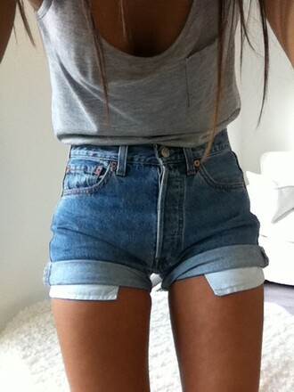 denim shorts cuffed shorts grey top grey tank top pocket t-shirt high waisted shorts shorts summer outfits casual beach summer denim