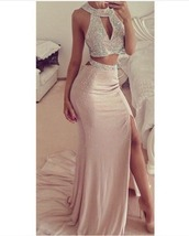 dress,prom dress,fashion,pretty,eligant,boutique maxi skirt and  topp,mermaid prom dress,2 pieces prom dress,sexy gowns dress,long prom dress,two pieces prom dress,sequin prom dress,beaded prom dress,sexy prom dress,key hole,beading,halter neck,slit dress,beaded