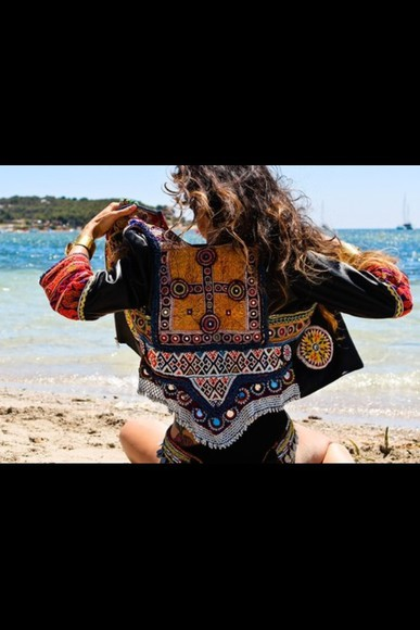 patterned jacket hippy suede brown beaded mirrors