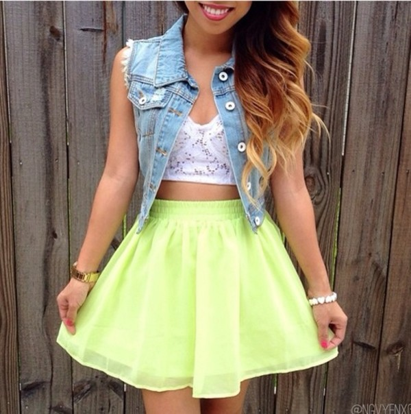 skirt yellow neon cute flare shirt jacket denim vest jeans frayed denimvest denim jacket sleeveless green high waisted skirt weheartit instagram tumblr tumblr girl girly crop tops flowy blouse summer summer time blue top crop tops white hot hair best summer time outfit summer dress summer outfits summer skirt denim jacket denim jacket jacket yellow lace skirt neon yellow crop top yellow green skater dress lime green and puffy dress clothes puffy