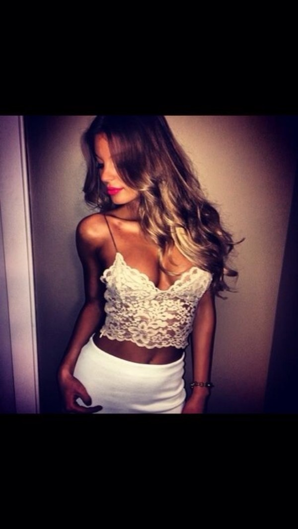tank top white crop/corset top spaghetti strap top white lace bralet skirt shirt top crop tops white blouse bralette lace top flowers dontalle summer see through style hot speghetti strap