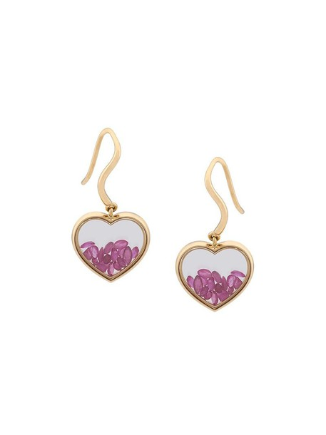 AURELIE BIDERMANN heart earrings heart women earrings gold grey metallic jewels