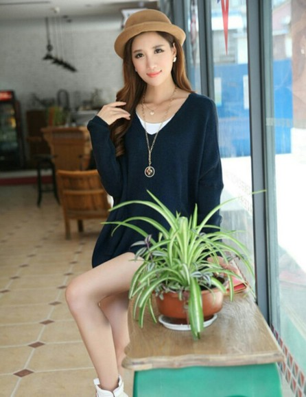 sweater loose fit sweater blue