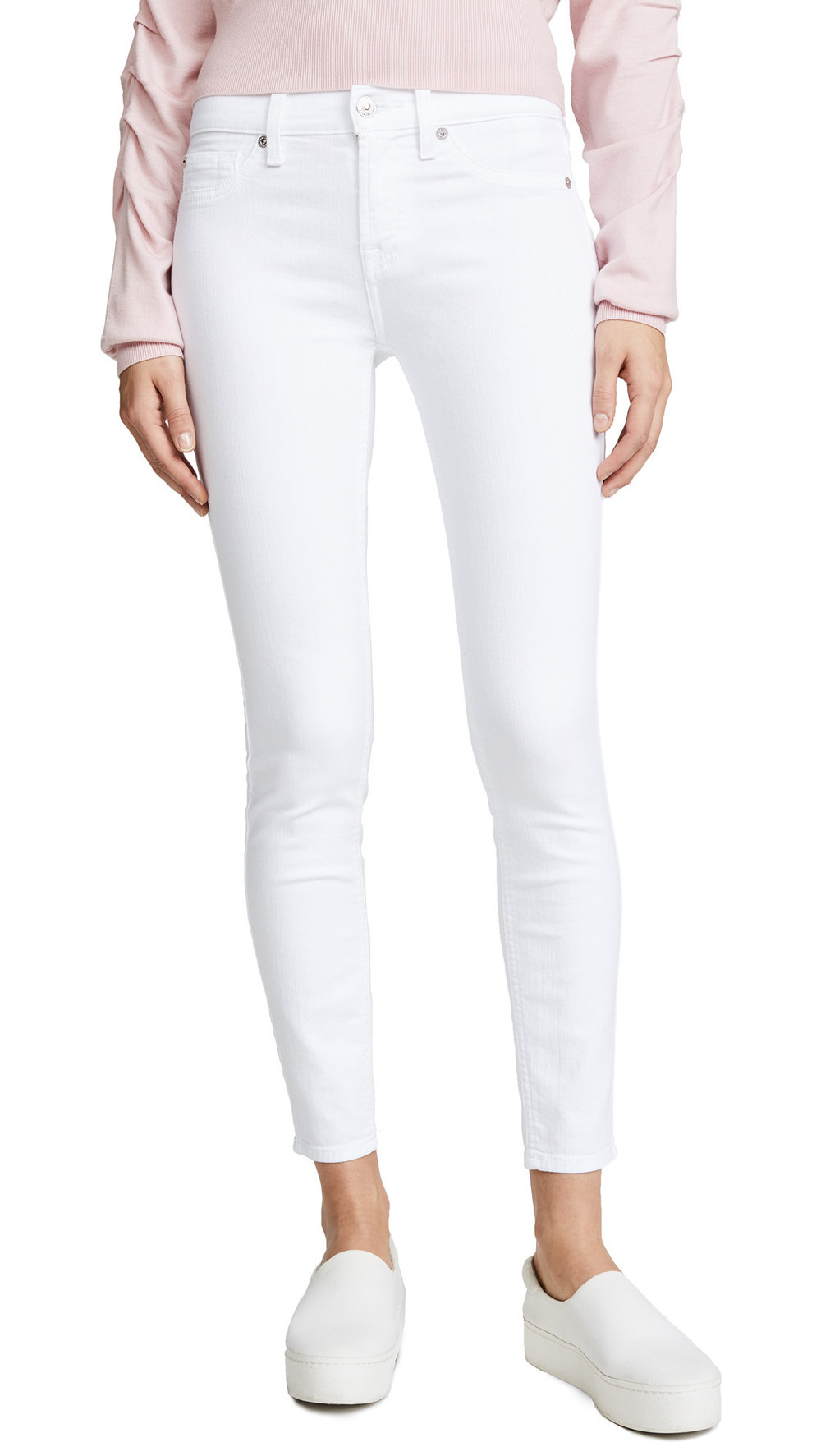 7 For All Mankind Skinny Ankle Jeans in white