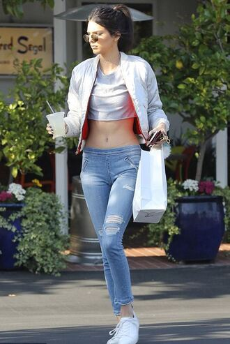 top crop jacket crop tops kendall jenner sneakers jeans spring outfits kardashians