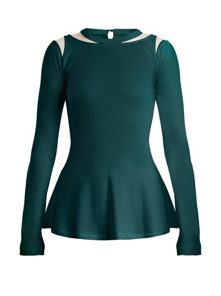 oscar de la renta sweater wool sweater mesh wool dark green