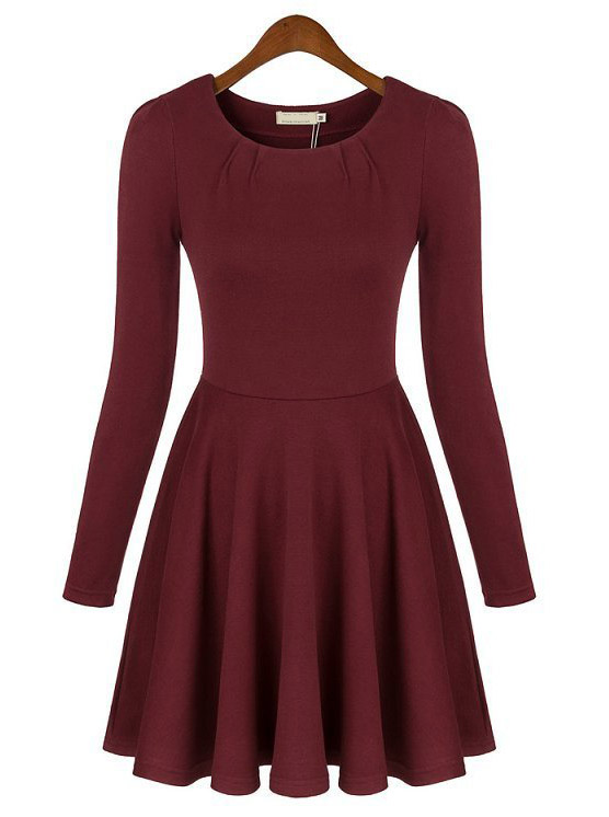 Red Round Neck Long Sleeve Slim Pleated Dress - Sheinside.com