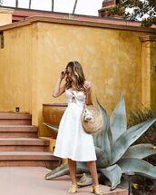 dress,white dress,midi dress,shoes,bag,sunglasses