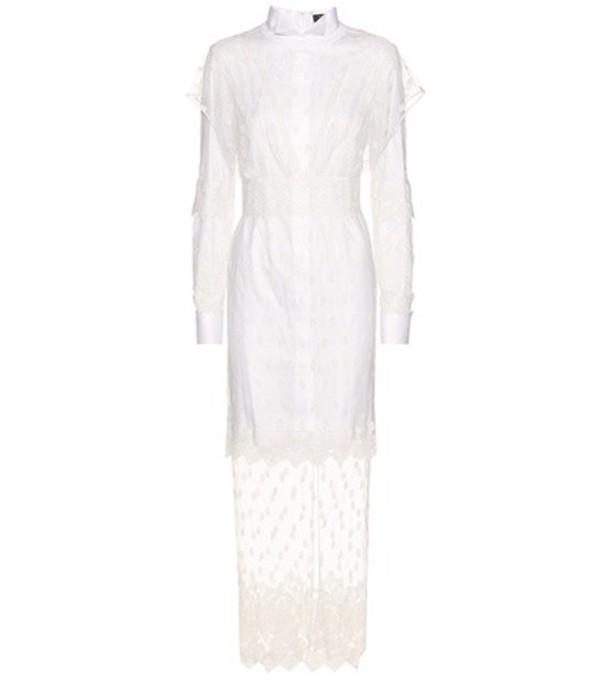 Burberry Layered Macramé Lace Shirt Dress in white
