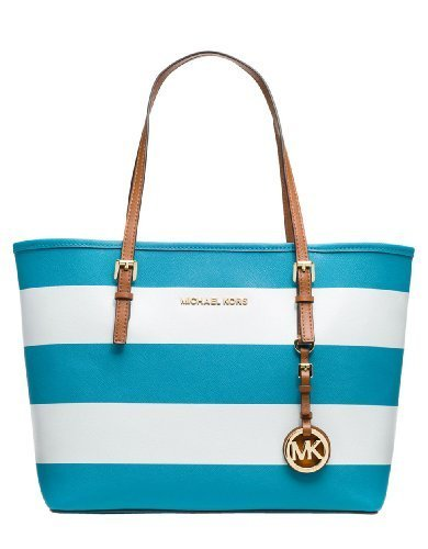 Michael kors jet set small saffiano travel tote (summer blue white) [accessor...