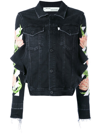 jacket denim jacket denim embroidered women spandex floral cotton black