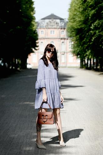 dress tumblr gingham mini dress blue dress slingbacks high heels heels bag brown bag sunglasses gingham dresses